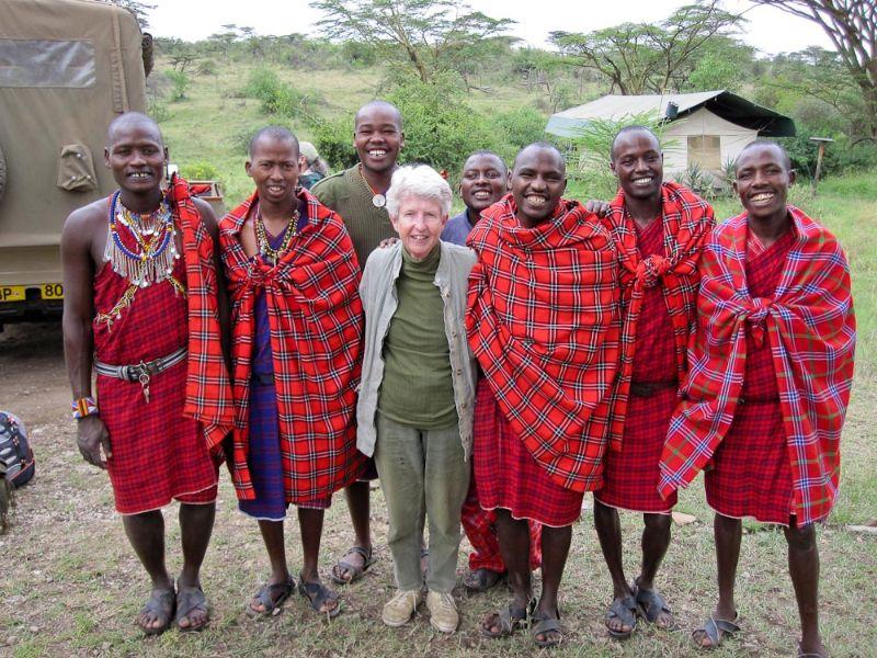 Sue with Maasai elders